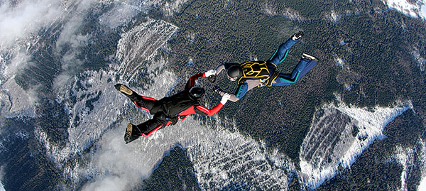 two skydivers