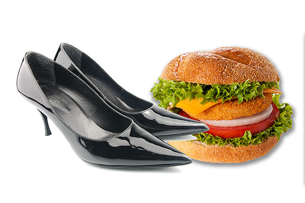 photo of shoes and a burger